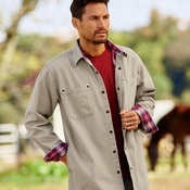 Men's Canvas Shirt Jacket with Flannel Lining