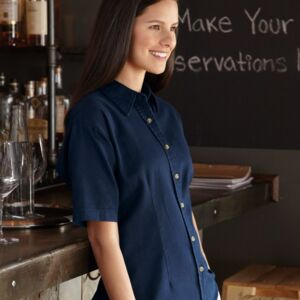 Women's Short Sleeve Cotton Twill Shirt Thumbnail