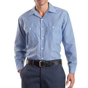 Long Size, Long Sleeve Striped Industrial Work Shirt Thumbnail