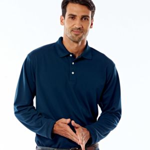 UltraClub® Adult Cool & Dry Long-Sleeve Stain-Release Performance Polo Thumbnail